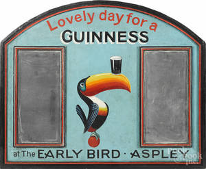 Painted Guinness toucan sign for  The Early Bird Aspley