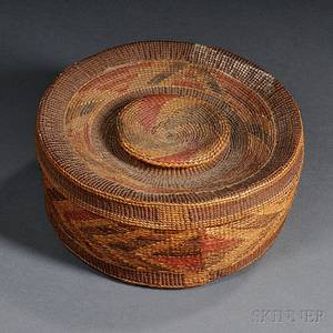 Tlingit Polychrome Twined Rattletop Basket