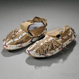 Southern Cheyenne Beaded Hide Moccasins