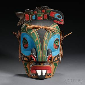 Contemporary Northwest Coast Polychrome Carved Wood Mask