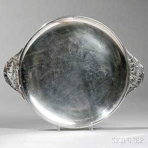 Durham Sterling Silver Round Tray with Lily of the Valleyform Handles