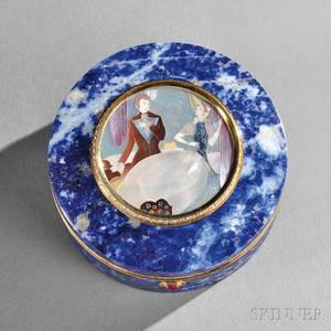 Continental Motherofpearl Gold and Diamondmounted Lapis Lazuli Box