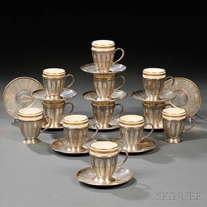 Twelve Tiffany amp Co Sterling Silver Demitasse Cups and Saucers