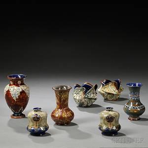 Seven Doulton Stoneware Items