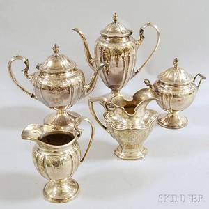 Fivepiece Lawrence B Smith Co Silverplated Tea and Coffee Service