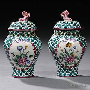 Pair of Faience Potpourri Vases and Covers