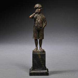 Bronze Figure of a Boy Smoking a Cigarette