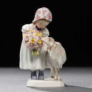 Meissen Porcelain Figure of a Girl with a Sheep