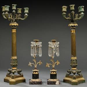 Pair of French Empirestyle Bronze Candelabra and a Pair of Continental Candlesticks