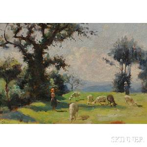 Giuseppe Magni Italian 18691956 Shepherdess and Flock in a Sunny Field