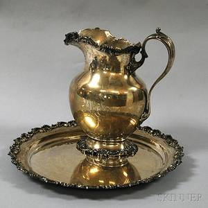Whiting Sterling Silver Water Pitcher and Round Serving Tray