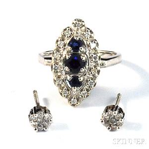 Pair of Diamond Earstuds and a 14kt White Gold Sapphire and Diamond Ring