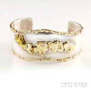 Sterling Silver and 14kt Gold Cuff Bracelet