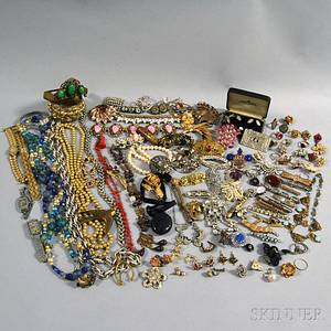 Large Group of Victorian and Art Deco Costume Jewelry