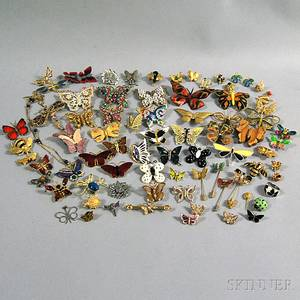 Group of Mostly Vintage Butterfly Costume Pins