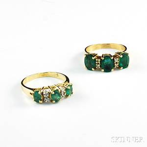Two Gold and Emerald Rings