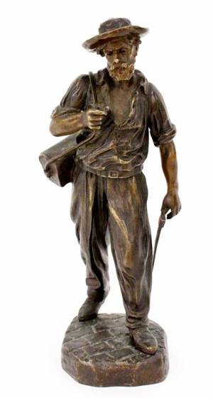 Bronze Figural Sculpture of Architect Signed
