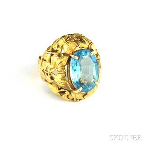 Italian 18kt Gold and Aquamarine Ring