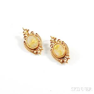 Pair of Antiquestyle 14kt Gold Goldstone and Seed Pearl Earrings
