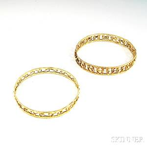 Two 14kt Gold Pierced and Scrolled Bangle Bracelets