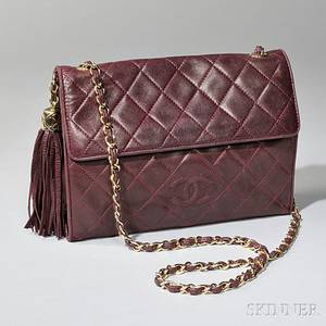 Maroon Chanel Quilted Lambskin Shoulder Bag