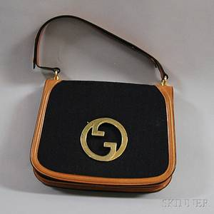 Vintage Gucci Black Canvas and Tan Leather Shoulder Bag