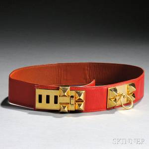 Hermes Red Leather Belt with Goldtone Hardware