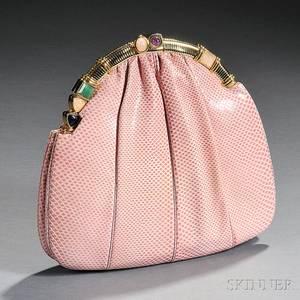 Judith Leiber Pink Lizard Skin Purse