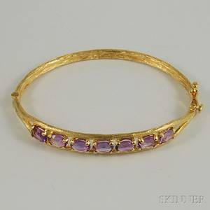 14kt Gold and Amethyst Hinged Bangle Bracelet