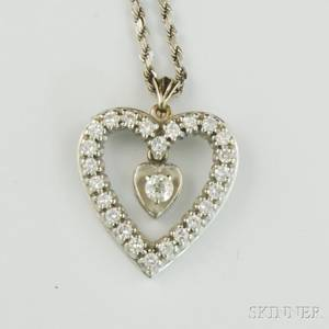 14kt White Gold and Diamond Heart Pendant Necklace