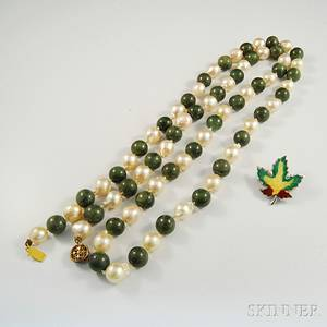 Jade and Pearl Bead Necklace