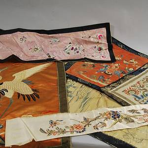 Six Chinese Silk Embroidery Fragments