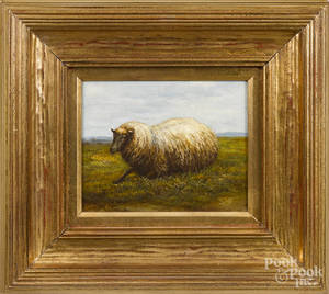 Contemporary oil on canvas of a sheep