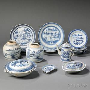 Eighteen Mostly Canton Export Porcelain Table Items