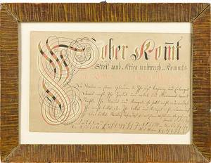 Southeastern Pennsylvania ink and watercolor fraktur vorschrift