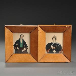 English School c 183637 Two Miniature Portraits of a Man and Woman