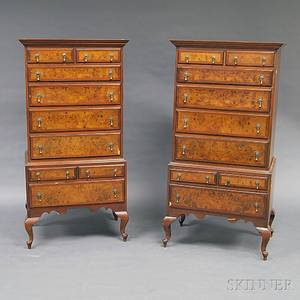 Pair of Queen Annestyle Mahogany and Burl Veneer Tall Chests