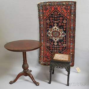 Chippendalestyle Mahogany Tilttop Table a Small Hamadan Rug and a Stand