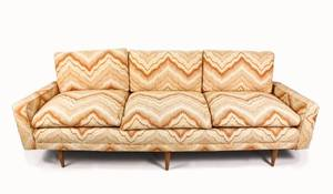 Mid Century Modern Flame Upholstered Sofa