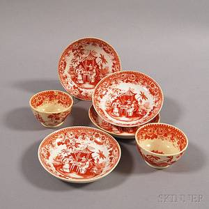Six Chinese Transferware Cups and Saucers