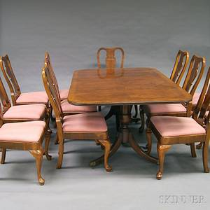Henredon Federalstyle Inlaid Mahogany Twopedestal Dining Table and Twelve Queen Annestyle Dining Chairs
