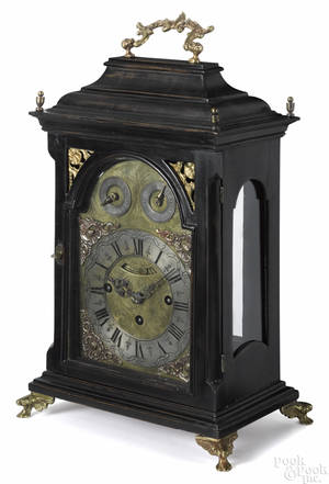 Paul Hoesteter A Brinn ebonized bracket clock 19th c