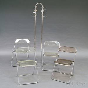 Set of Four Paila Chrome and Lucite Folding Chairs and a Chromed Steel Coat Rack