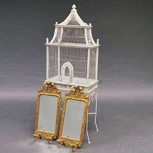 Whitepainted Birdcage on Stand and a Pair of Gilt Queen Annestyle Mirrors