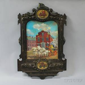 Folk Carved Fire Fightingthemed Picture Frame and Oil on Board