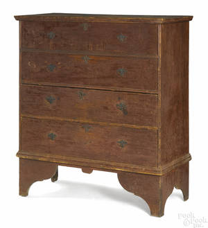 New England Queen Anne painted pine mule chest ca 1760
