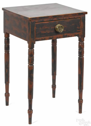 New England painted pine and birch onedrawer stand ca 1830