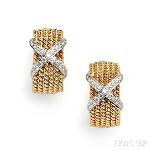 18kt Gold and Diamond Rope Earclips Schlumberger Tiffany amp Co