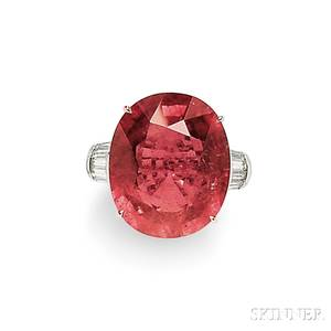18kt White Gold Pink Tourmaline and Diamond Ring