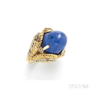 18kt Gold Lapis and Diamond Ring Buccellati